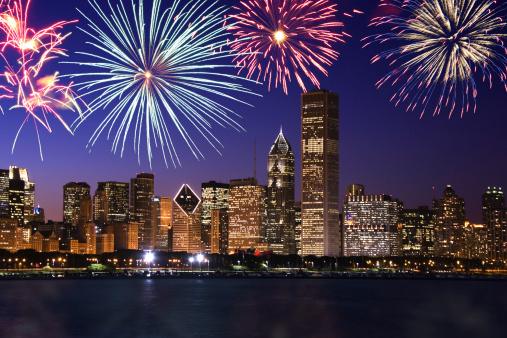 花火「Fireworks over Chicago skyline」:スマホ壁紙(5)