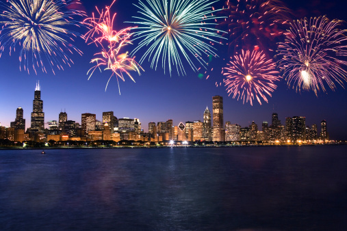 花火「Fireworks over Chicago skyline」:スマホ壁紙(14)