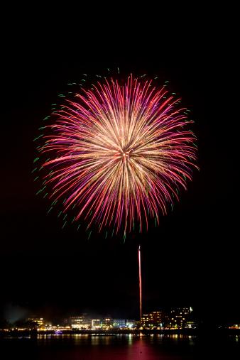 Lake Kawaguchiko「Fireworks Over City」:スマホ壁紙(16)