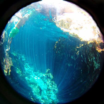Unrecognizable Person「Swimming underwater in a cenote」:スマホ壁紙(12)