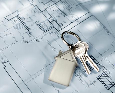 House Key「House keys on house build blueprints」:スマホ壁紙(10)