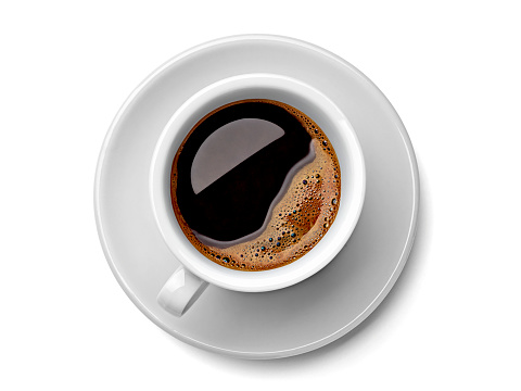 Coffee「Cup of black coffee on white background」:スマホ壁紙(0)