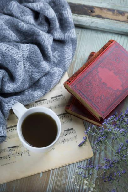 Cup of black coffee, book and music sheet:スマホ壁紙(壁紙.com)