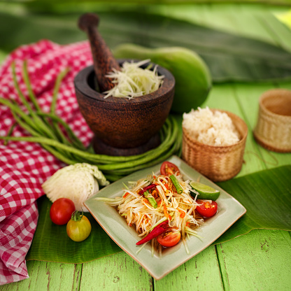 PGA Event「Som Tam Tai, a popular and favourite Thai food dish made of young sliced papaya, chili, tomatoes, palm sugar and dried shrimp with sticky rice.」:スマホ壁紙(11)