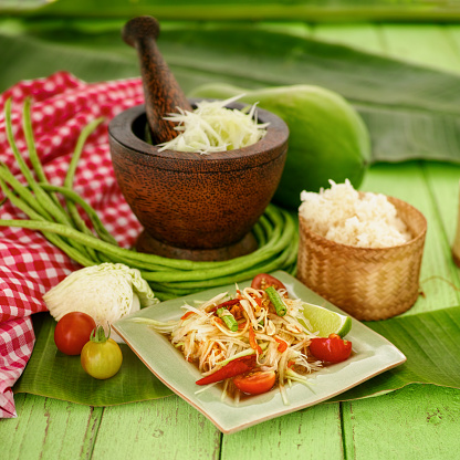 PGA Event「Som Tam Tai, a popular and favourite Thai food dish made of young sliced papaya, chili, tomatoes, palm sugar and dried shrimp with sticky rice.」:スマホ壁紙(16)