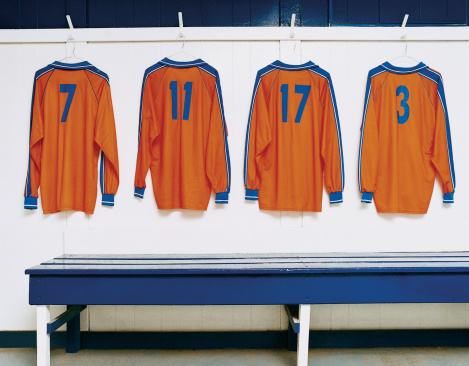 Soccer Uniform「Four Sports Strips Hanging in a Changing Room」:スマホ壁紙(4)