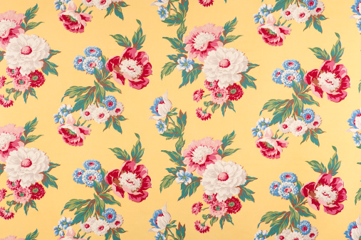 Floral Pattern「Contemplation Yellow Antique Floral Fabric」:スマホ壁紙(8)