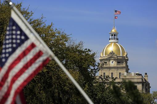 Focus On Background「Golden dome of Savannah city hall」:スマホ壁紙(9)