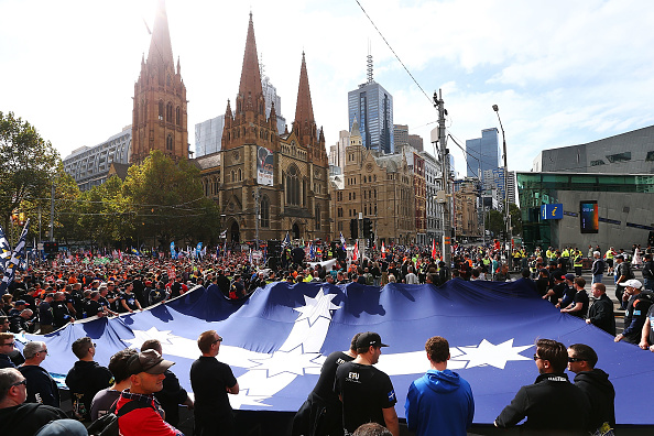 Finance and Economy「Union Workers Shut Down Melbourne CBD In Protest Over Work Conditions」:写真・画像(17)[壁紙.com]
