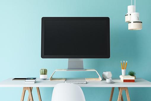 美しさ「白い空白の空の画面を持つオフィスワークプレースコンピュータ」:スマホ壁紙(8)