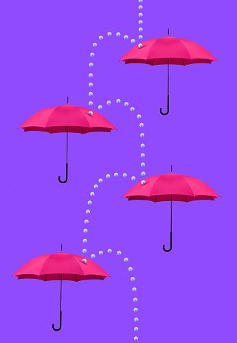 Protection「Symbolic rain cascading down four umbrellas」:スマホ壁紙(12)