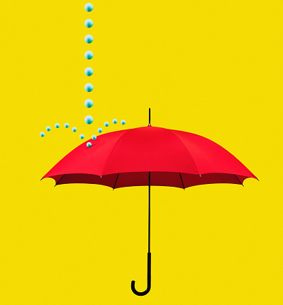 Protection「Symbolic rain drops falling on red umbrella」:スマホ壁紙(1)