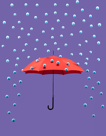 Safety「Symbolic rain drops falling on red umbrella」:スマホ壁紙(6)
