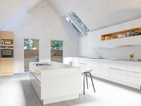 Large「White kitchen Interior」:スマホ壁紙(1)