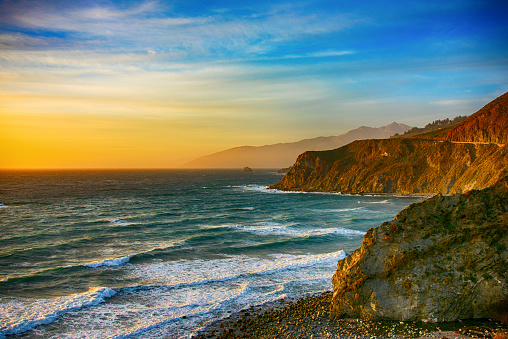 Sunset sea「Coastline of Central California at Dusk」:スマホ壁紙(18)
