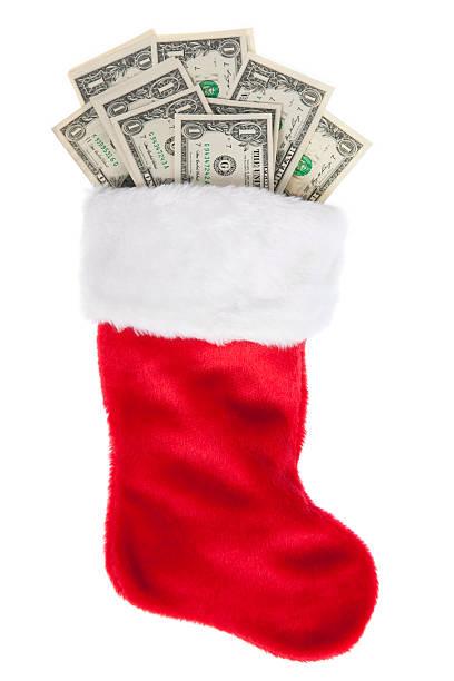 Christmas Stocking Stuffed with Money:スマホ壁紙(壁紙.com)