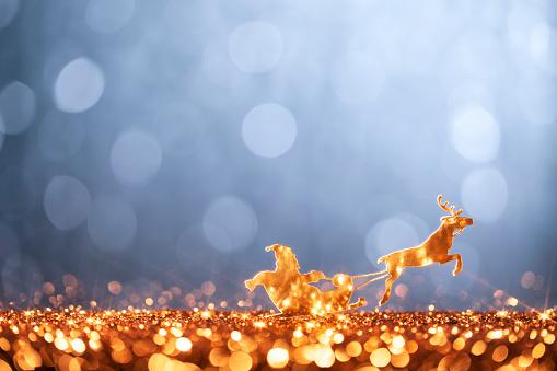 Snow sled「Christmas Santa Sleigh and Reindeer - Backgrounds Defocused」:スマホ壁紙(12)