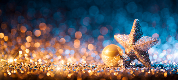 Christmas Lights「Christmas Star with ornament on Glitter - Bokeh Defocused Gold」:スマホ壁紙(3)