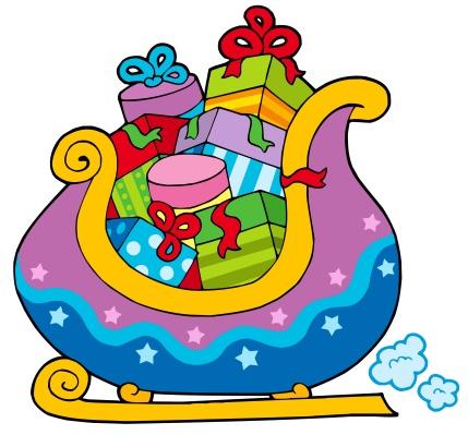 Sled「Christmas sledge full of gifts - isolated illustration.」:スマホ壁紙(3)