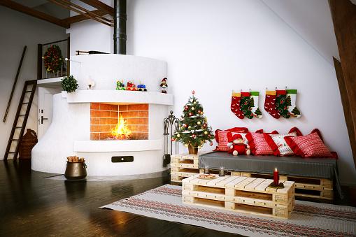 Pillow「Christmas Scandinavian Interior Scene」:スマホ壁紙(17)