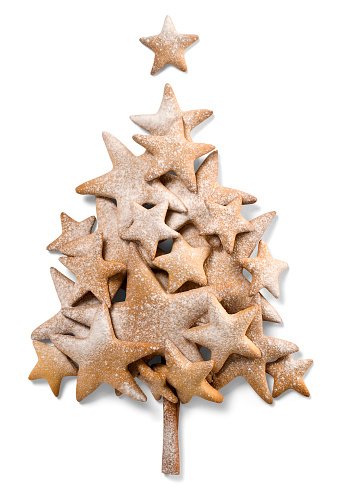 Cookie「Christmas star-shaped cookies arranged to look like a tree」:スマホ壁紙(17)