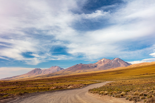 Volcanic Landscape「Road to Lagunas Miscanti y Miñiques located in Atacama desert at 4,140m altitude, Chile, January 19, 2018」:スマホ壁紙(7)
