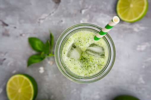 Gray Background「Glass of organic lime lemonade with basil」:スマホ壁紙(5)