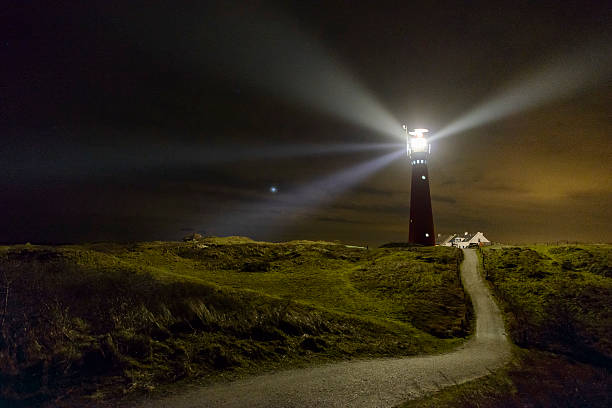 Path to the lighthouse in the dunes at night:スマホ壁紙(壁紙.com)