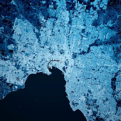 Digital Composite「Melbourne Australia 3D Render Map Blue Top View Oct 2019」:スマホ壁紙(2)
