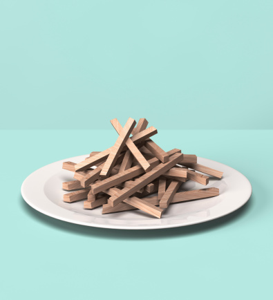 Snack「French fries made out of wooden block」:スマホ壁紙(7)