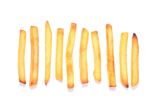 Snack「French fries in a row on white background」:スマホ壁紙(10)
