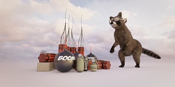 Raccoon「Raccoon wearing goggles watching explosives」:スマホ壁紙(18)