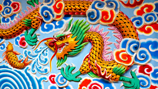Dragon「Thailand, North East, Wall art of Chinese water dragon and fish」:スマホ壁紙(16)