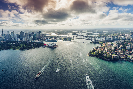 Sydney Harbor Bridge「aircraft view of Sydeny cityscape,Australia」:スマホ壁紙(17)