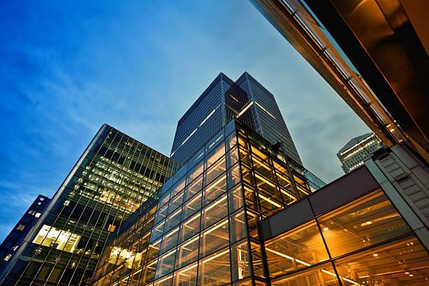 Business District at Dusk, London:スマホ壁紙(壁紙.com)