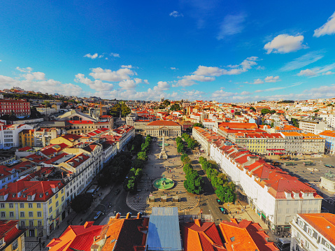 Town Square「Rossio Square cityscape Lisbon Portugal Aerial」:スマホ壁紙(11)