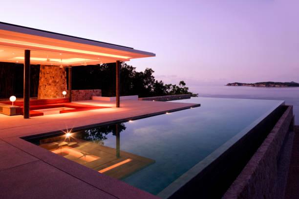 Luxury Island Villa Home In The Tropics Along The Coastline At Sunrise:スマホ壁紙(壁紙.com)