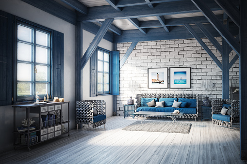 Brick Wall「Blue (Azure) Themed Holiday Villa Interior」:スマホ壁紙(4)