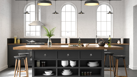 Home Showcase Interior「Black industrial kitchen」:スマホ壁紙(18)