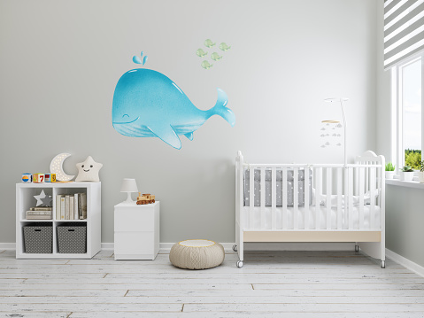 Whale「Nursery Interior with Whale Wallpaper On The Wall」:スマホ壁紙(15)