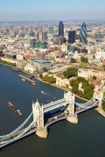 London Bridge - England「England, London, Tower Bridge and The City, aerial view」:スマホ壁紙(16)