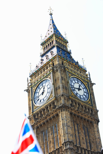 Old Town「England, London, Big Ben, union jack flag in foreground」:スマホ壁紙(1)