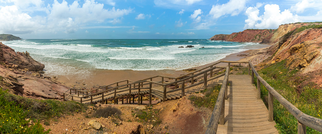 アマードビーチ「Portugal, Algarve, Lagos, Carrapateira, Praia do Amado, panoramic view」:スマホ壁紙(0)