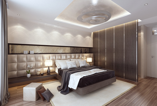 Villa「Luxury modern interior bedroom with large bed.」:スマホ壁紙(9)