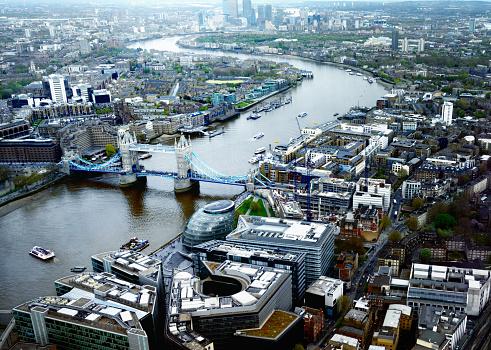 London Bridge - England「London Cityscape and Tower Bridge at sunset. UK. Aerial view」:スマホ壁紙(13)