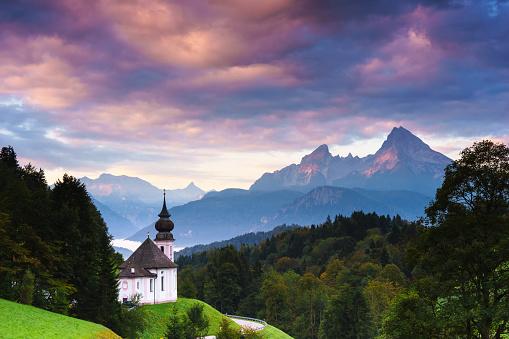 European Alps「Wallfahrtskirche Maria-Gern in Berchtesgaden mit Watzmann」:スマホ壁紙(7)