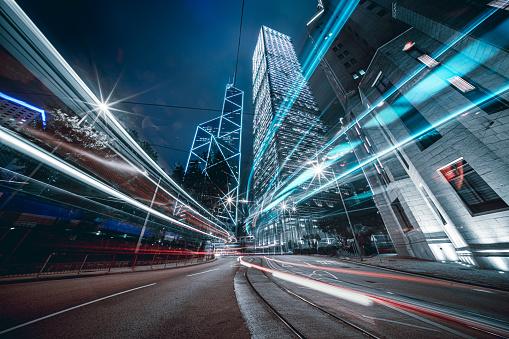 Light Trail「Car trails on night street at Hong Kong central」:スマホ壁紙(8)