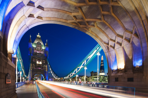 London Bridge - England「Car trails on Tower bridge; London; England」:スマホ壁紙(6)