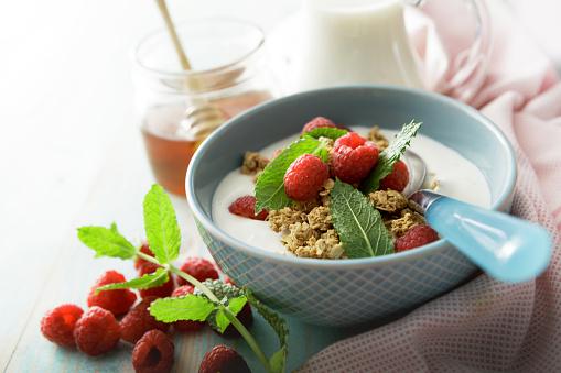 Granola「Breakfast: Granola with Raspberries and Mint Still Life」:スマホ壁紙(4)