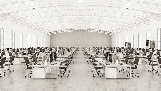 Illustration「Large Call Center Headquarter Building with Computers」:スマホ壁紙(17)